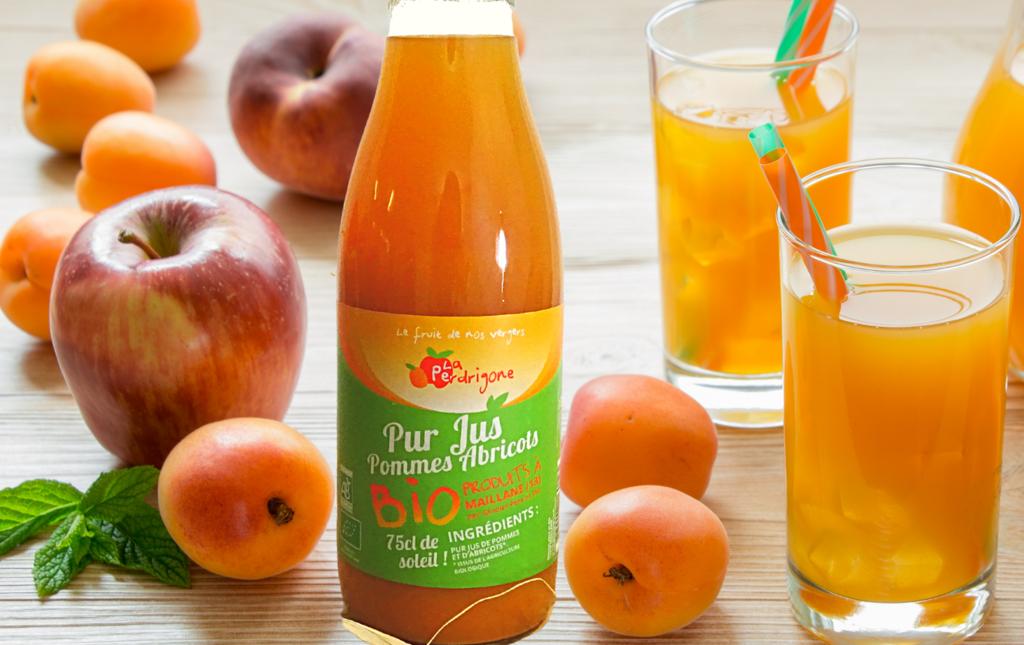 Jus pomme abricot bio maillane les paniers davoine