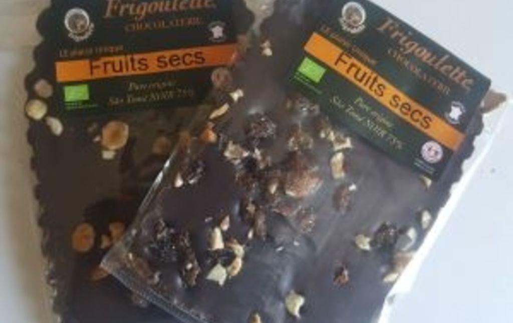 Chocolat noir (75%) et fruits secs bio