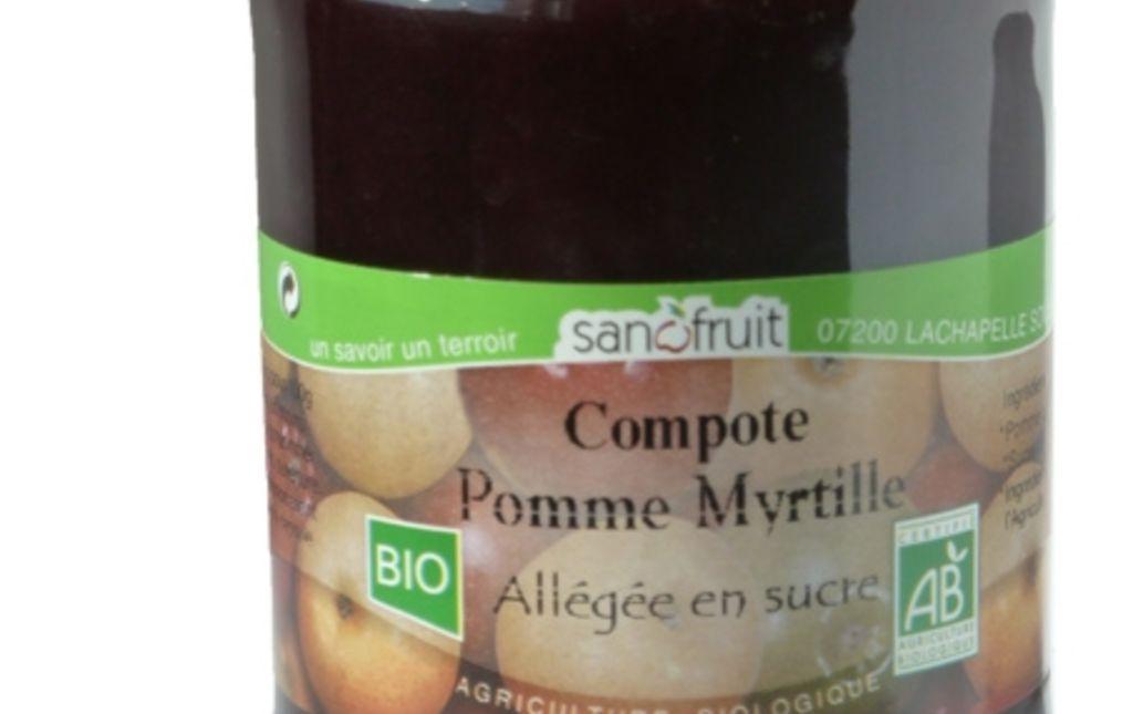 Compote de pomme myrtille bio - Les Paniers Davoine
