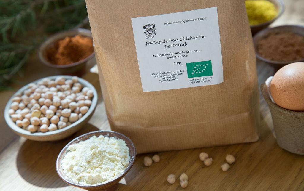 Farine bio de Pois Chiche sans gluten provence les paniers davoine