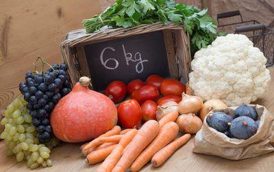 Panier moyen de fruits et légumes bio