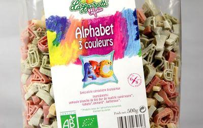 Pâtes bio alphabet 3 couleurs